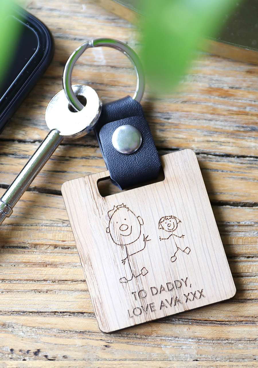 Lisa-Angel-Personalised-Wooden-Your-Drawing-Leather-Strap-Keyring