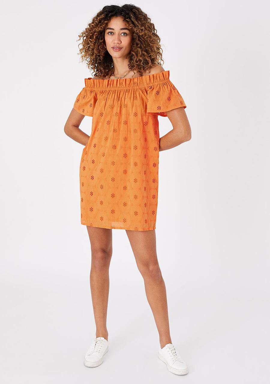 accessorize-Schiffly-Bardot-Dress-Orange