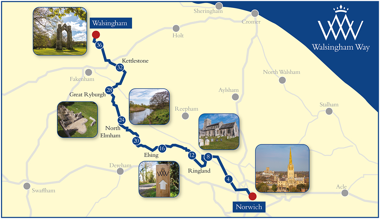 Walsingham-Way-map-with-pictures-(c)-Annette-Hudson_Norwich-Cathedral